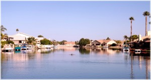 Waterfront in Desert Harbor  and Pontoon Boats