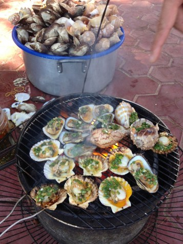 Scallops - my favourite local seafood - grilled - topped with green onions, oil and peanutes