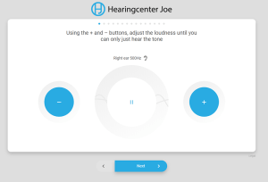 Hearing Screener Example Screenshot