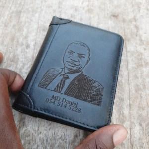 Men's Custom Engraved Photo Wallet Black