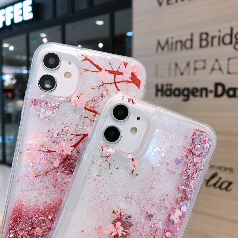 Glitter Quicksand Peach Blossom Liquid Phone Case For iPhone 12 11 Pro Max XS XR X 7 8 Plus SE 2020 Pink Flowers Soft Cover