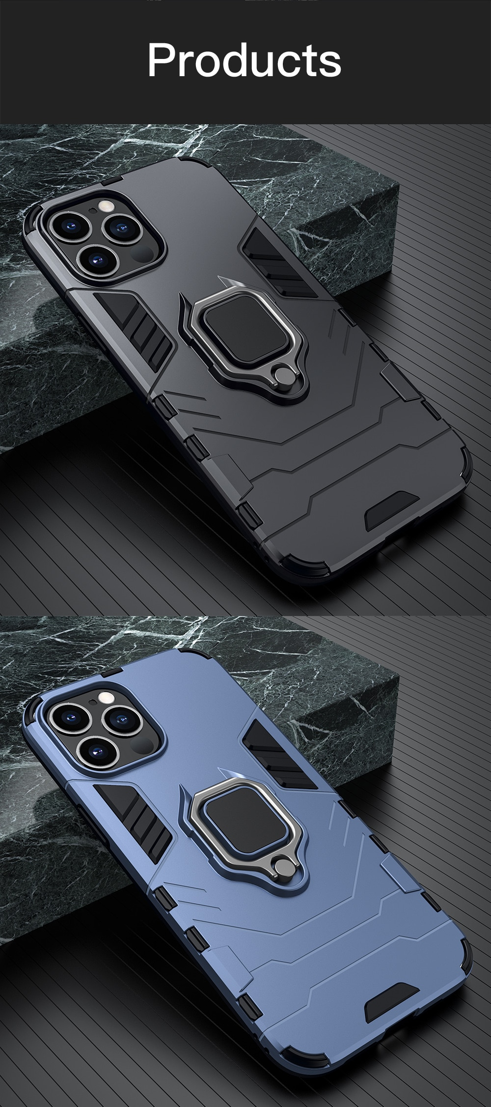 KEYSION Shockproof Armor Case for iPhone 12 Pro Max 12 Mini Ring Stand Back Cover for iPhone 11 Pro max XS XR 8 7 6 Plus SE 2020