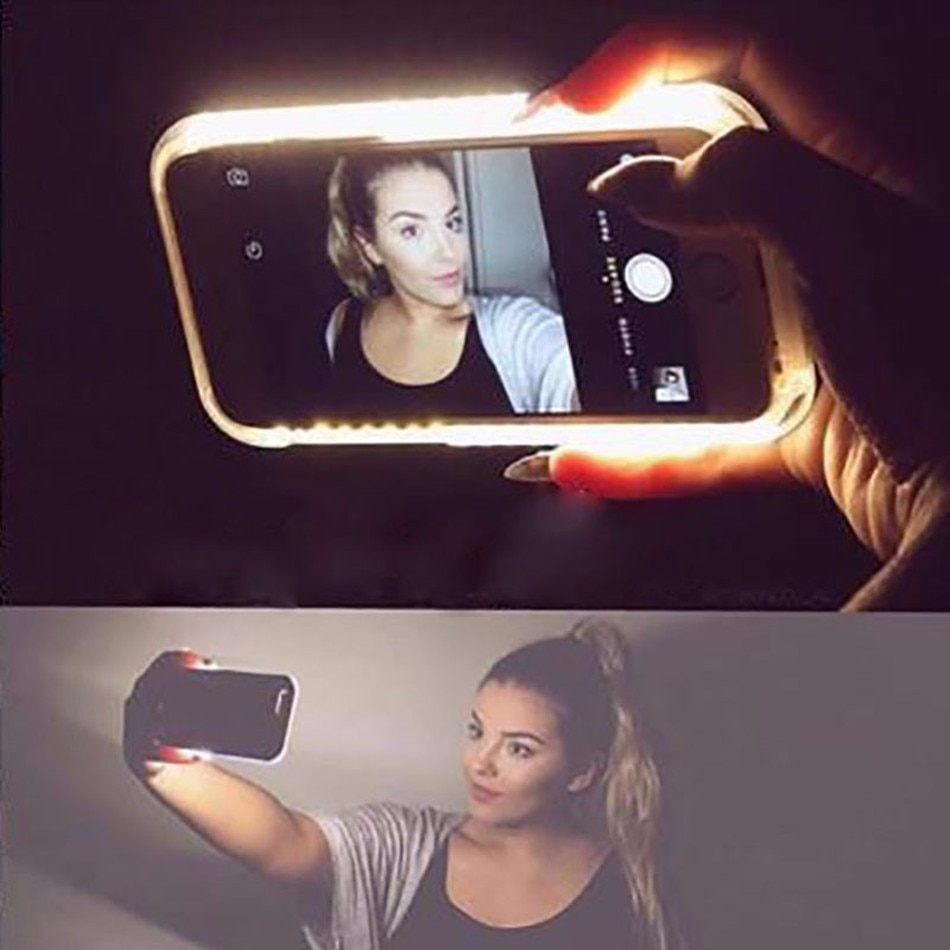 LED FlashCasesFor iPhone 12 X XS MAX XR 8 7SelfieLight 11 Pro 6 6s Plus 5 5s for 12pro max phone case cover