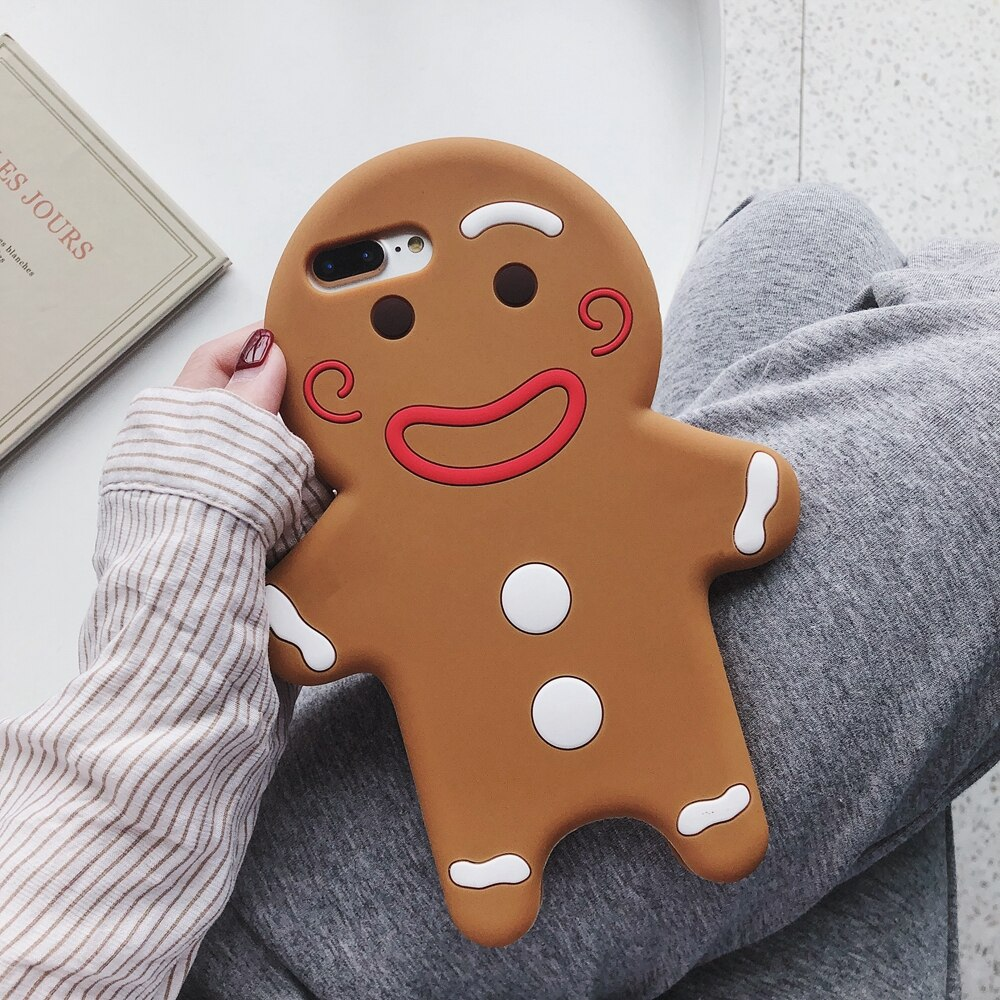 3D Cartoon Silicone Gingerbread Man phone Case For iPhone se 2020 11 Pro Max XR X XS 6 6s 7 8Plus 12 Cute Soft Rubber back Cover