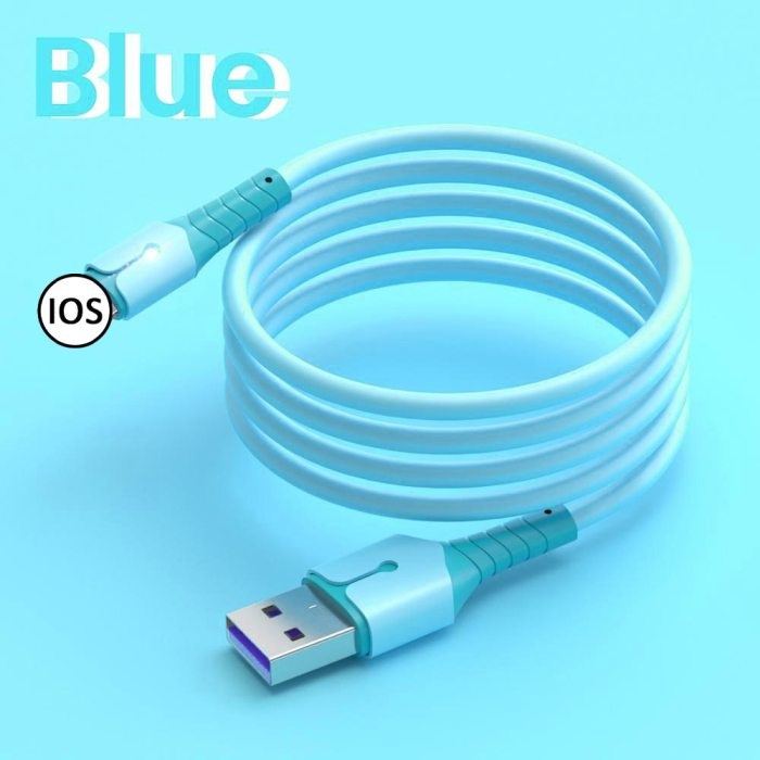 USB Cable For iPhone 5A Fast Data Charging Charger Wire Cord Liquid Silicone Cable 1/1.5/2M For Apple Smartphone Home