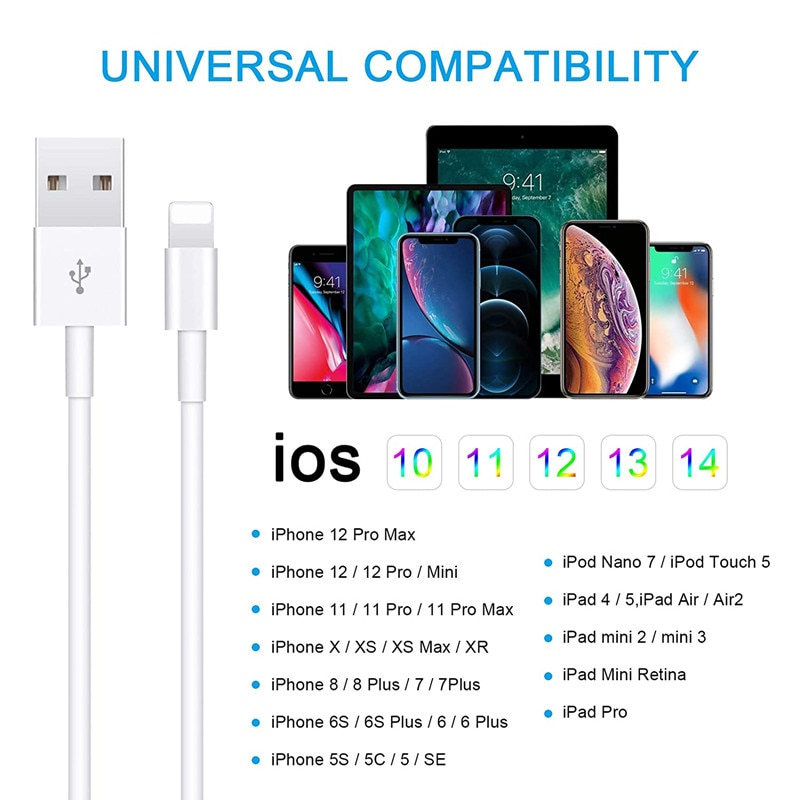 5 Pack For Apple iPhone Charger Cable High Fast Charging Cables Cord for iPhone 12 Mini Pro Max 11 XS Xr X 6 7 8 Plus 5s AirPods