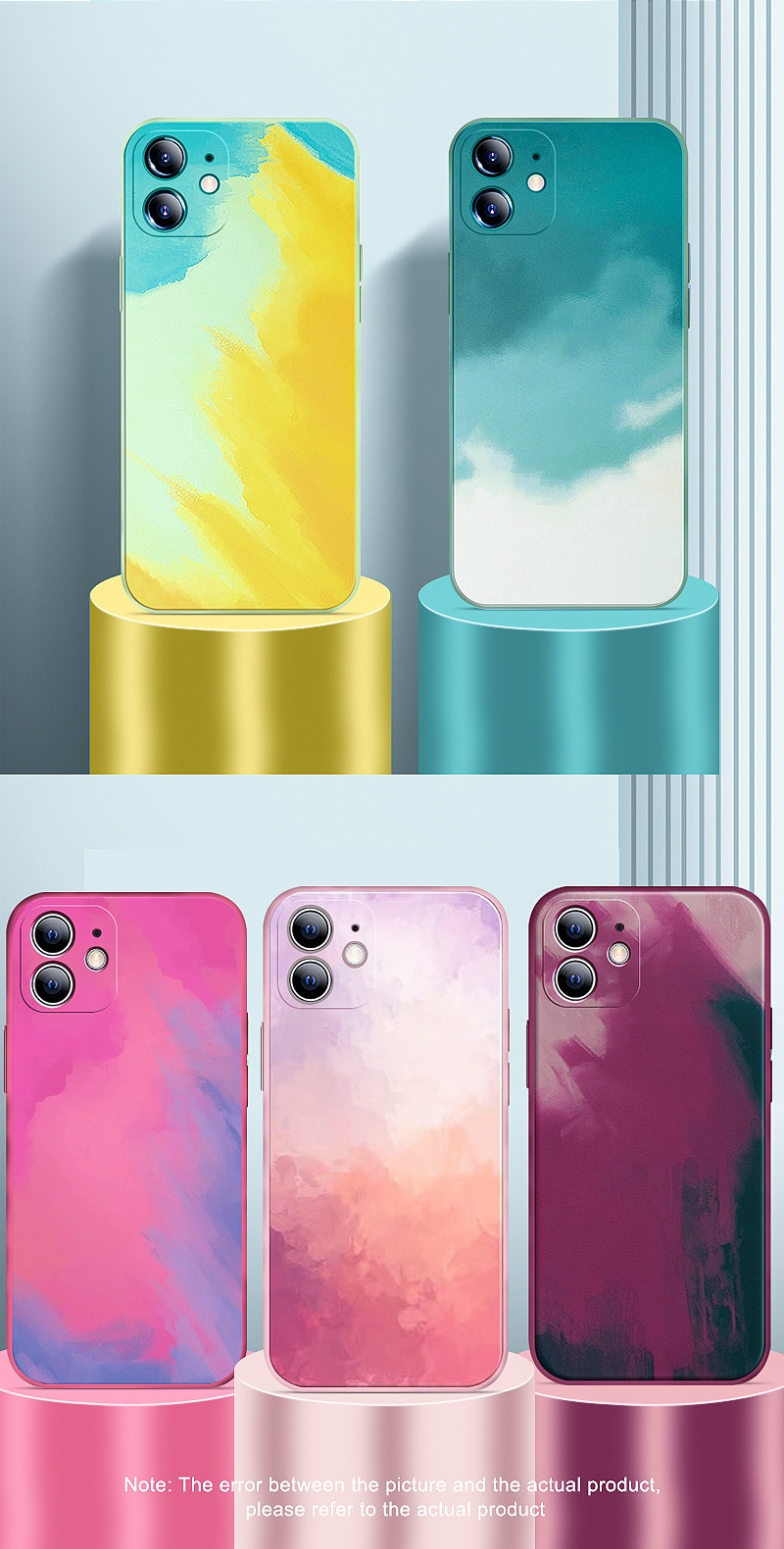 iPhone XS R Max Silicone Phone Case Watercolor Rendering For iPhone 11 12 Pro 7 8 Plus Anti-fall prote Trendy Ladies phone shell