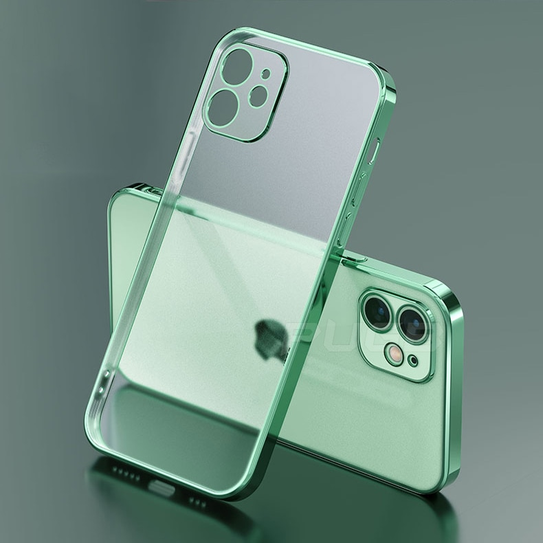 Luxury Plating Square Frame Matte Soft Silicone Case for iPhone 11 12 Pro Max Mini XR X XS 7 8 Plus SE 2020 Transparent Cover
