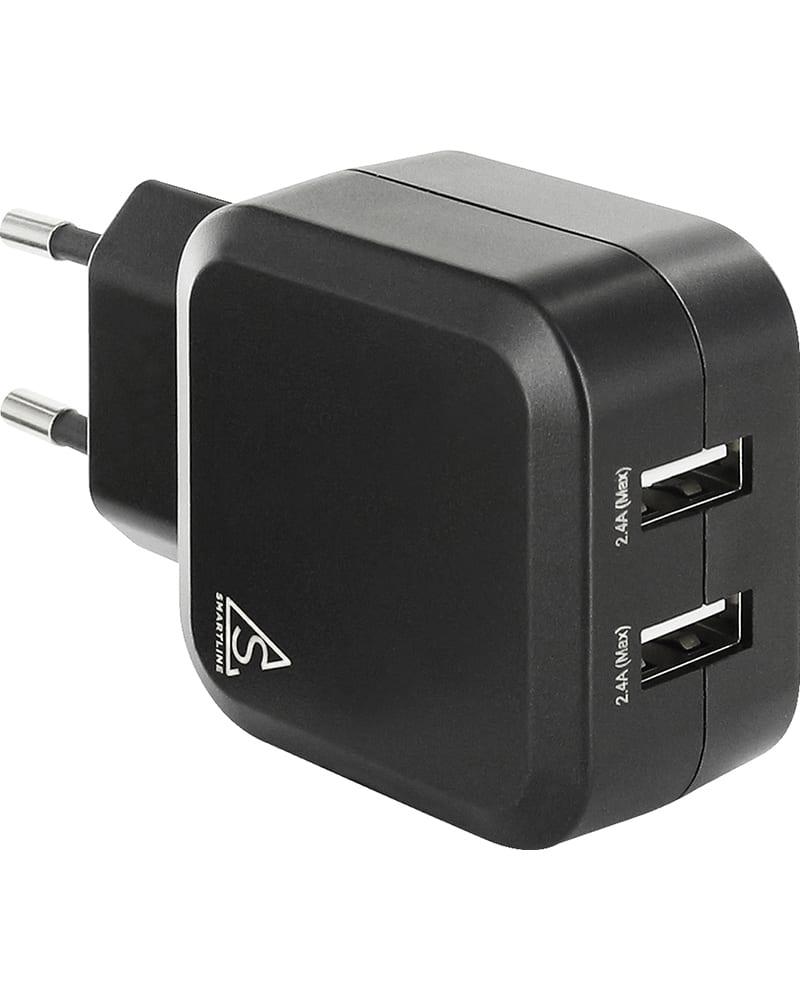 Smartline Väggadapter 4.8A, 2st USB Portar, Svart