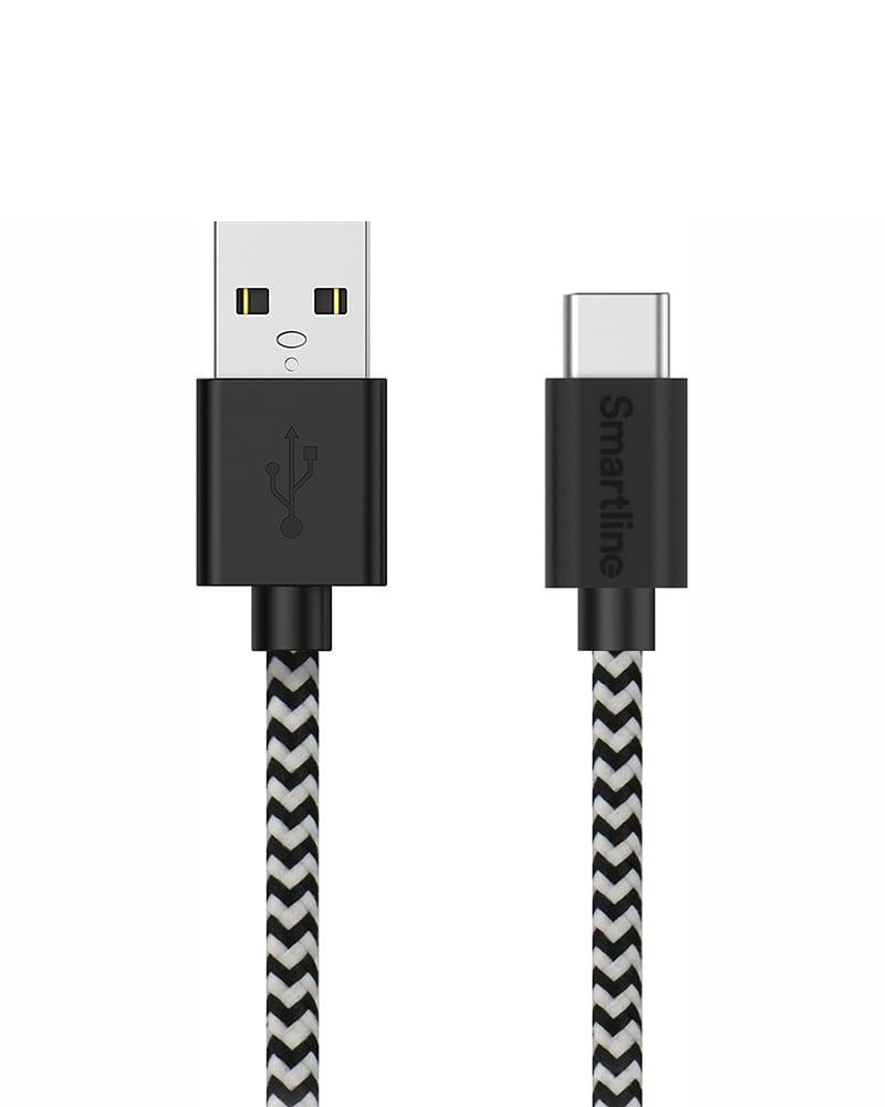 Smartline USB-C Laddsladd, 2 meter, Braided Svart/Vit