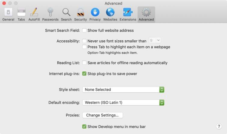 webpage source code safari