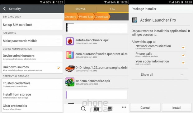 Gionee Elife E7 Install External Apps