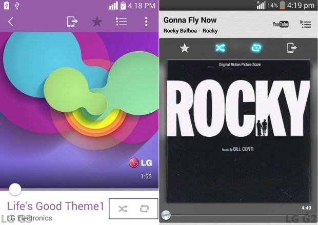 LG G3 Vs LG G2 music player 14