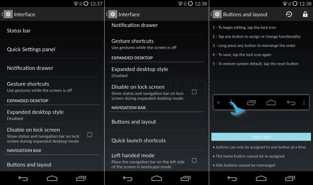 OnePlus One Interface buttons layout