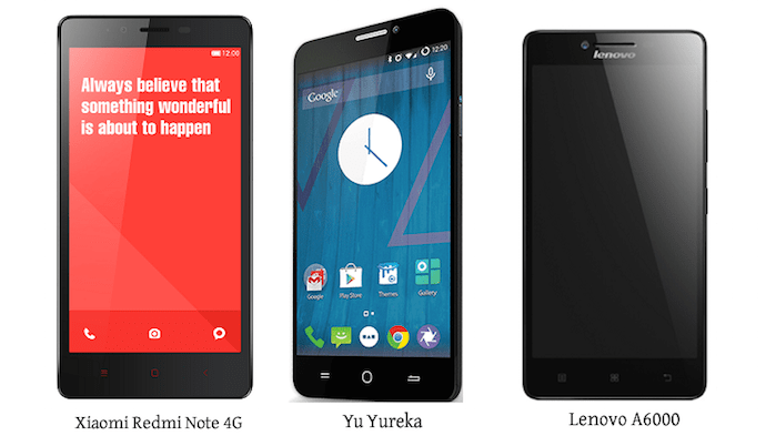 Redmi Note 4G vs Yu Yureka vs Lenovo A6000