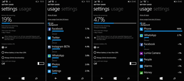 Microsoft Lumia 640 XL Battery Stats