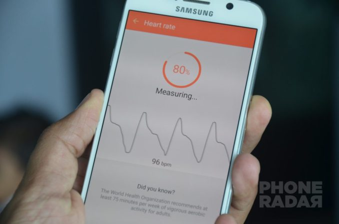 Samsung Galaxy S6 S Health Measure Heart Rate