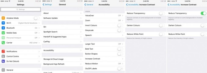 How to Reduce Transparency on iOS 9