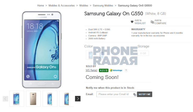 Samsung Galaxy On5 Sale