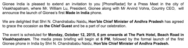 gionee make in india launch
