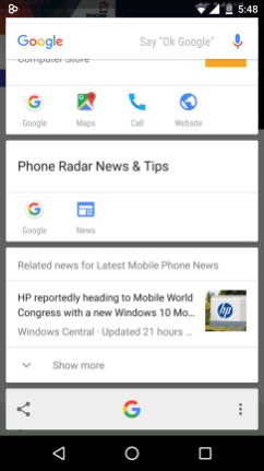 Google Now on Tap - Press Share Button