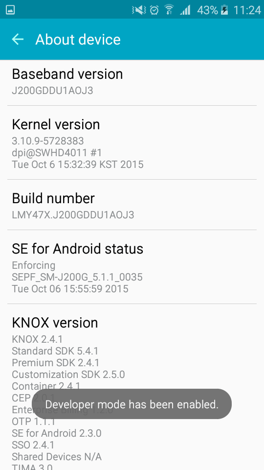 Samsung Galaxy J2 - Developer Mode Enabled