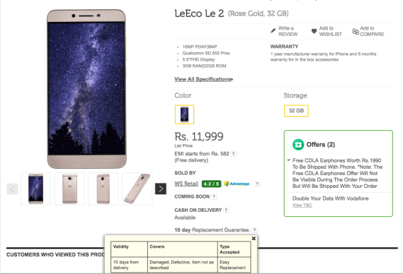 Flipkart LeEco Le2 Replacement Policy