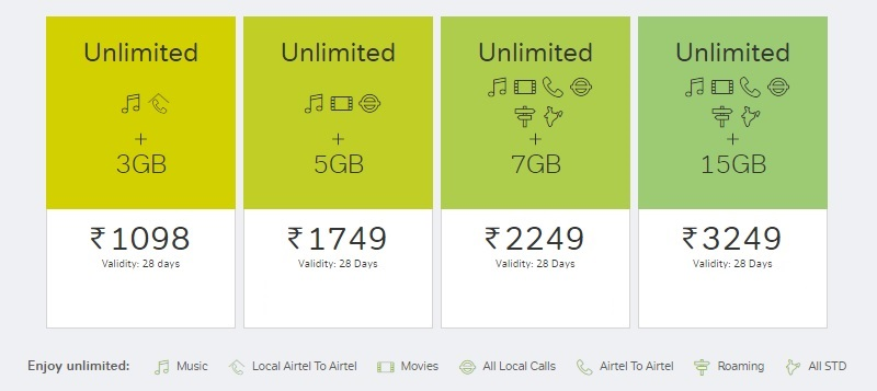 Airtel - Prepaid Unlimited Plans