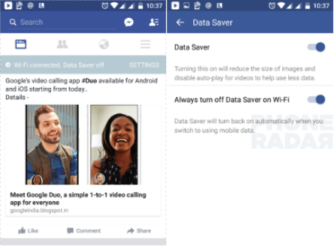 Facebook Data Saver option