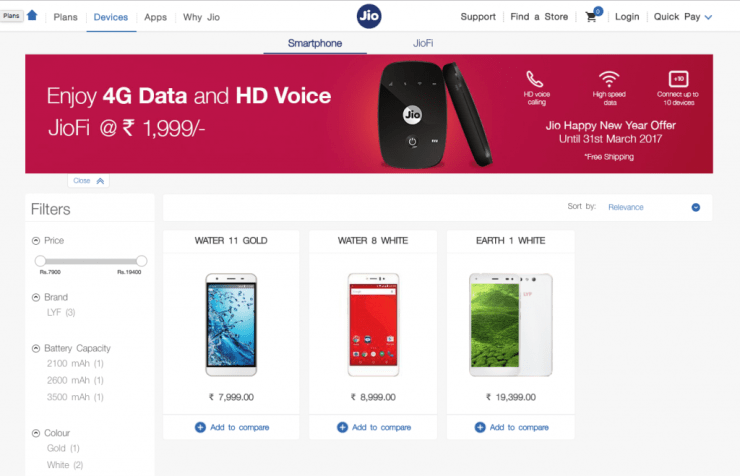 Reliance Jio Ecommerce Store