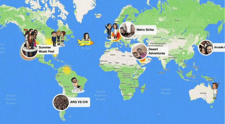 Snapchat features shares users location