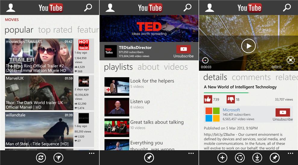 YouTube per Windows Phone 8: rilasciata l'app ufficiale
