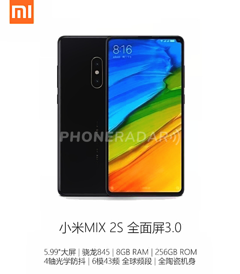 Xiaomi Mi Mix 2S scalza iPhone X: trapelato design finale e specifiche tecniche