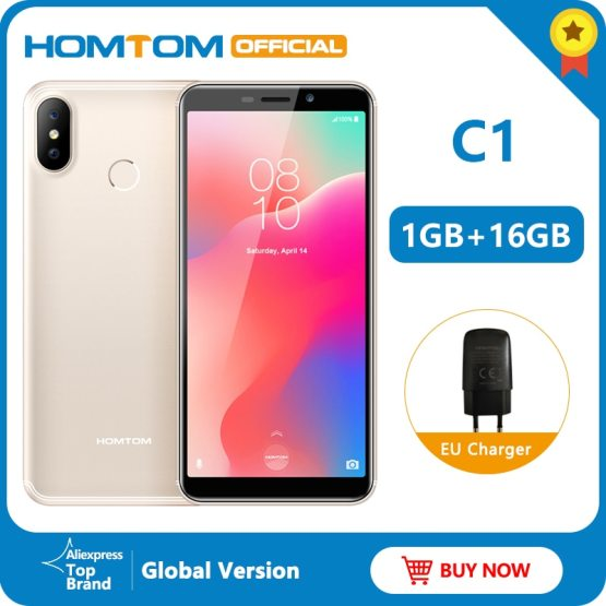 "Original version HOMTOM C1 16G ROM 5.5""Mobile Phone 13MP Camera Fingerprint 18:9 Display Android 8.1 MT6580A Unlock Smartphone"