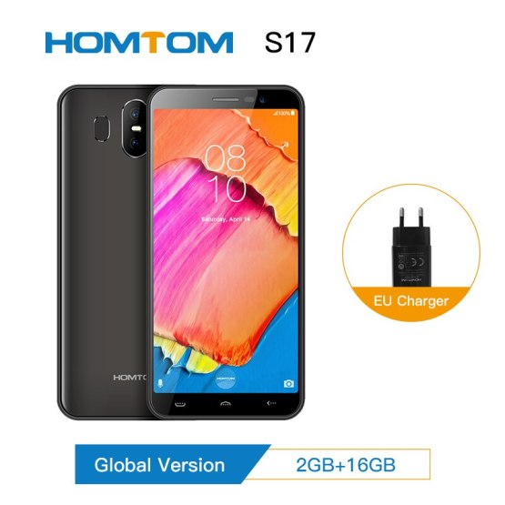 "HOMTOM S17 Android 8.1 Quad Core 5.5"" 18:9 Full Display Smartphone Fingerprint Face ID 2GB RAM 16GB ROM 13MP+8MP Mobile Phone"