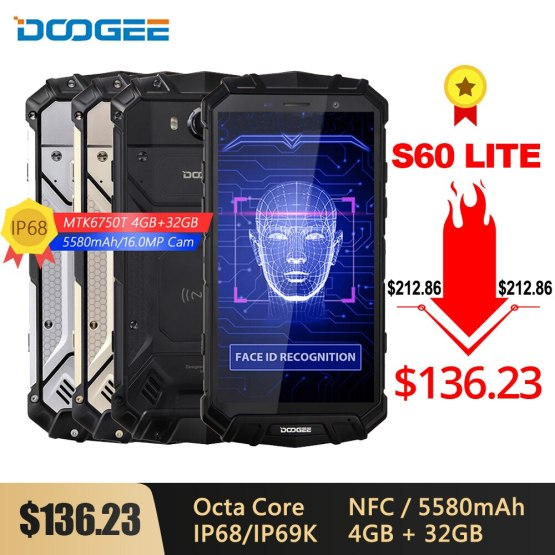 DOOGEE S60 Lite IP68 Wireless Charge Smartphone 5580mAh 12V2A Quick Charge 16MP 5.2'' FHD MTK6750T Octa Core 4GB 32GB NFC Phone
