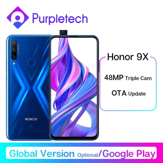 Honor 9X Smartphone Google Play 48MP Triples Camera 6.59'' Mobile Phone Android 9 4000mAh Full Screen Turbo 3.0