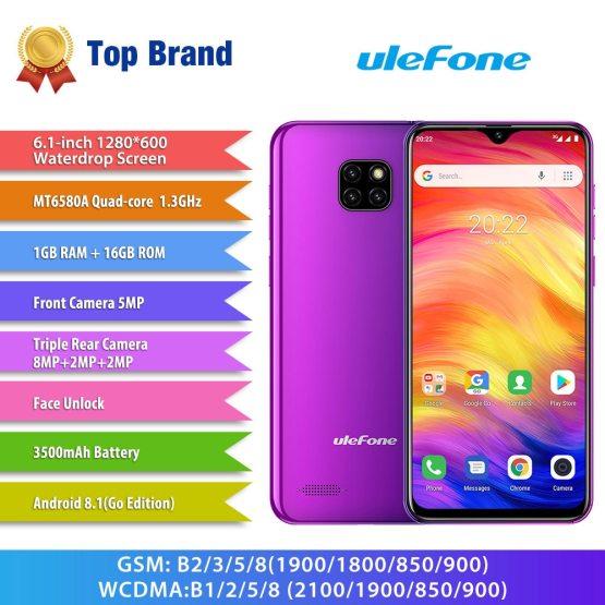 Ulefone Note 7 Smartphone 6.1inch 19:9 Waterdrop Screen Quad Core Ulefone Note 7 Smartphone 6.1inch 19:9 Waterdrop Screen Quad Core Cellphone 1GB+16GB ROM Mobile Phone Android 9.0 Three Camera.