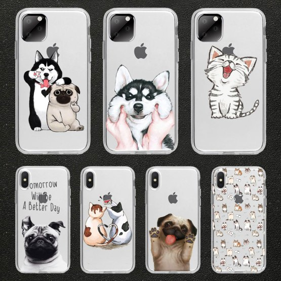 Funny cute cat dog Animal Phone Case For iPhone 11 pro max 5 SE 5s 4S 6 6S 8 7 Plus X XR XS MAX TPU Transparent silicone case