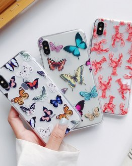Soft TPU Cases For iphone XR X XS Max 6 6S 7 8 Plus 11 11Pro Max Simple Cute Butterfly Lobster Patterned Phone Case NEW
