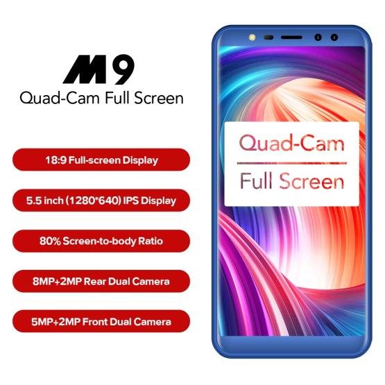 "LEAGOO M9 3G Smartphone 5.5"" 18:9 Full Screen Four-Cams Android 7.0 MT6580A Quad Core 2GB+16GB 2850mAh Fingerprint Mobile Phone"