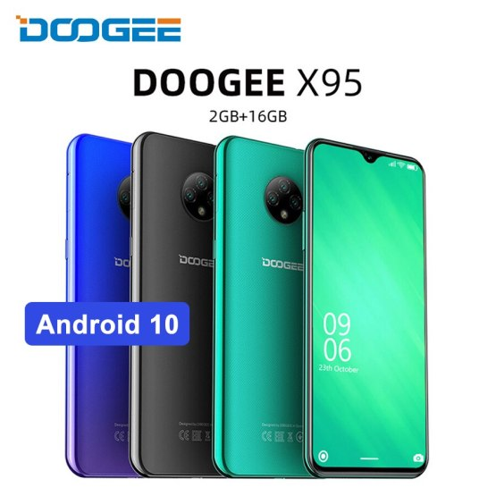 """DOOGEE X95 6.52"""" 19:9 4G Smartphone Quad Core Android 10.0 MTK6737 Mobile phone 2GB 16GB 4350mAh Cellphone Face ID 13MP+2MP+2MP"""