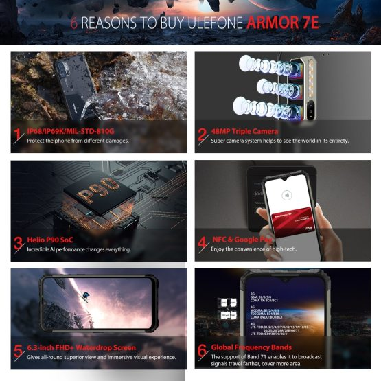 """Ulefone Armor 7E 6.3"""" IP68 Rugged Waterproof Mobile Phone Helio P90 Octa Core Ulefone Armor 7E 6.3"""" IP68 Rugged Waterproof Mobile Phone Helio P90 Octa Core 4GB 128GB Smartphone Android 9.0 Cellphone 5500mAh."""