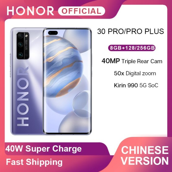 New Arrival Honor 30 Pro 30 Pro Plus 5G Smartphone Kirin 990 6.57'' 40MP Triple Cam IP54 Waterproof Wi-fi 6+ 40W SuperCharge