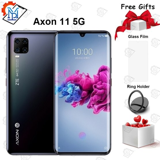 "2020 New ZTE Axon 11 5G Mobile Phone 6.47"" AMOLED Curved Screen 6GB+128GB Snapdragon 765G Octa Core Android 10 NFC Smartphone"