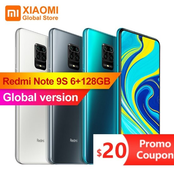 "Xiaomi Redmi Note 9S 6GB 128GB Global Version Smartphone Snapdragon 720G Octa Core 5020mAh 48MP Cam 6.67"" Note 9 S Mobile Phone"