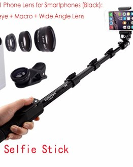 Bluetooth Extendable Selfie Stick Telescopic Monopod Fisheye Macro Wide Angle Phone Lens for XiaoMi Redmi 2A Note 5 4X 4 3