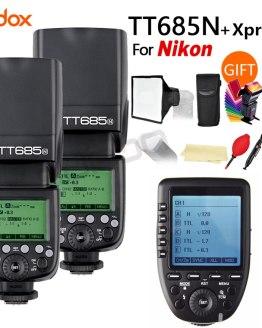 2X Godox TT685N 2.4G Wireless HSS 1/8000s i-TTL Speedlite Flash for Nikon DSLR Cameras + XPRO-N + 15*17cm softbox+ Color filter