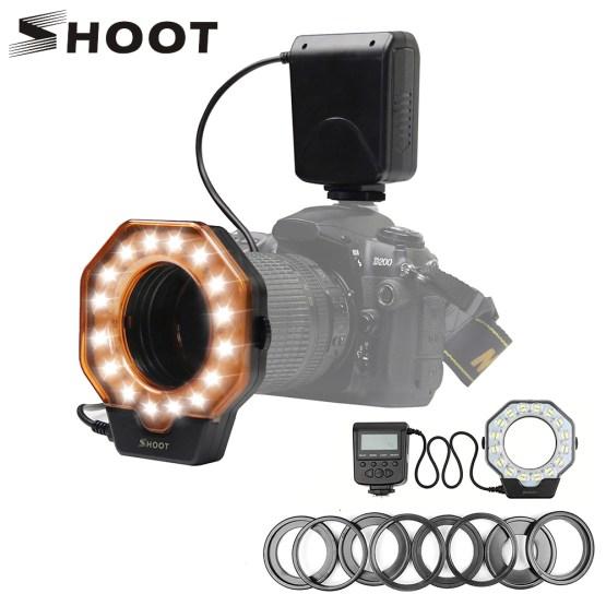 SHOOT XT-103C Macro LED Ring Flash Light Speedlight for Canon 6D 7D Nikon D750 Sony Hotshoe Olympus Panasonic Pentax DSLR Camera