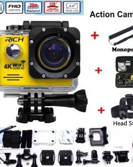HD Action Camera wifi for rich Extreme Sports camera Video 1080P 30m Waterproof sports camrea Extra head strap+bag+Monopod